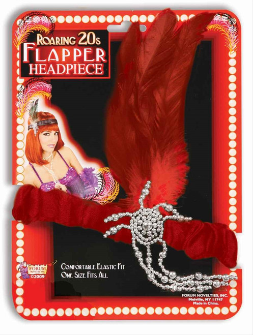 Red Showgirl Flapper Headband - Roaring 20s