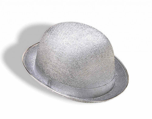 Silver Glittery Bowler Hat