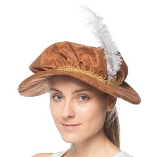 Brown Renaissance Cap With Feather