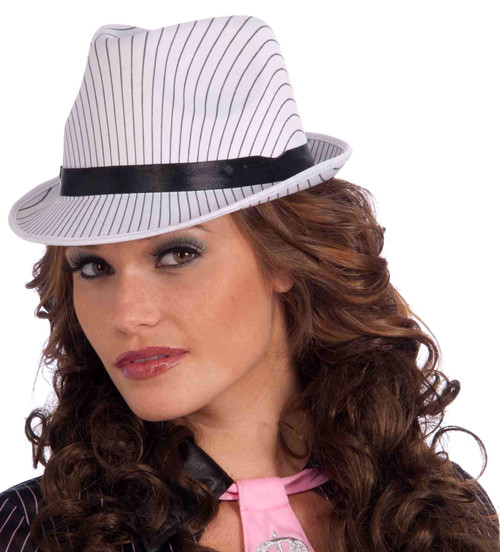 White Pin-stripe Fedora