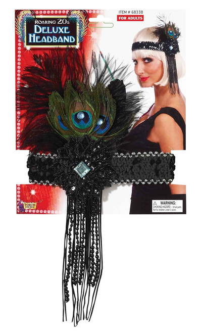 Peacock Feather Flapper Headband - Roaring 20s