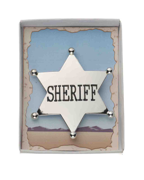 Silver Cowboy Sheriff Badge