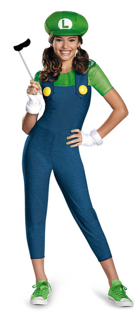 Children's Luigi-Girl Super Mario Bros. Costume
