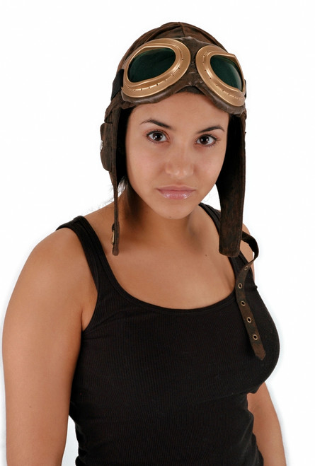 Ultra Suede Aviator Costume Hat Brown