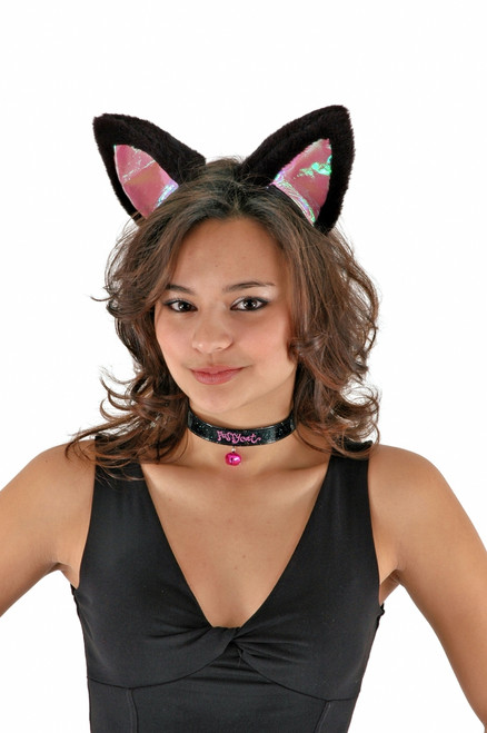 Large Cat Ears and Collar- Black Pink
