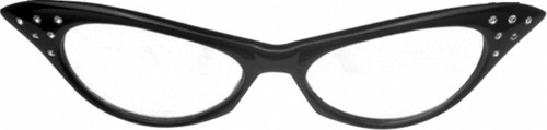Black/Clear 50S Cat Eye Rhinestone Glasses