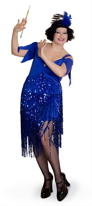 20s Lava Diva Blue Flapper Costume - Plus Size