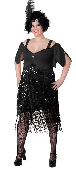 20s Lava Diva Black Flapper Costume - Plus Size