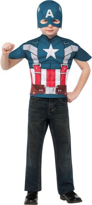 Retro Captain America Boys Costume Shirt Set