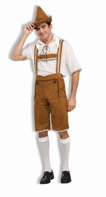 Hansel Men's Brown Lederhosen Halloween Costume