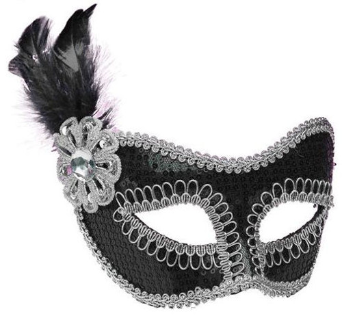 Black Sequin Masquerade Mask