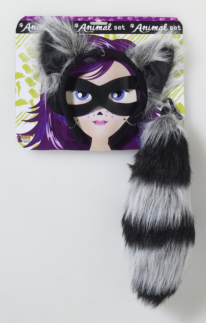 Raccoon Ears and Tail Animal Set
