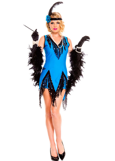 20s Fascinating Sky-Blue Flapper Costume