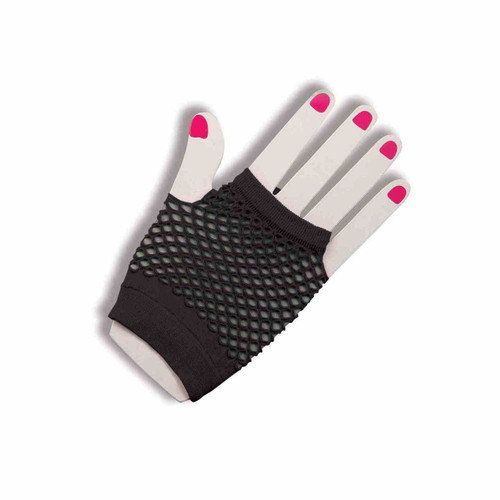 Black Fishnet Fingerless 80s Gloves