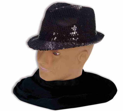 Black Sequin Fedora Hat