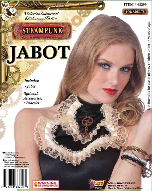 Steampunk Jabot with Lace Trim and Gear