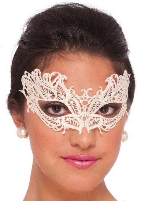 White Lace Demi Masquerade Mask