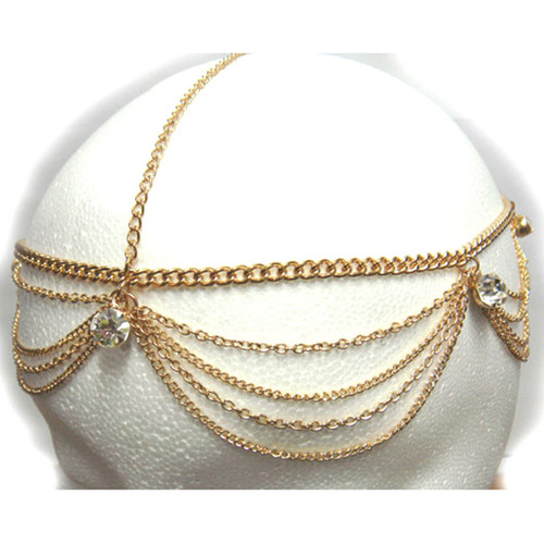 Gold Gem Head Chain