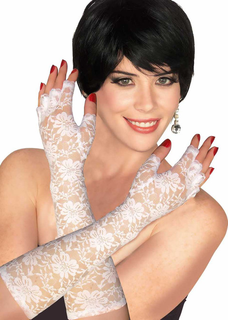 White Lace Finger-Less Gloves
