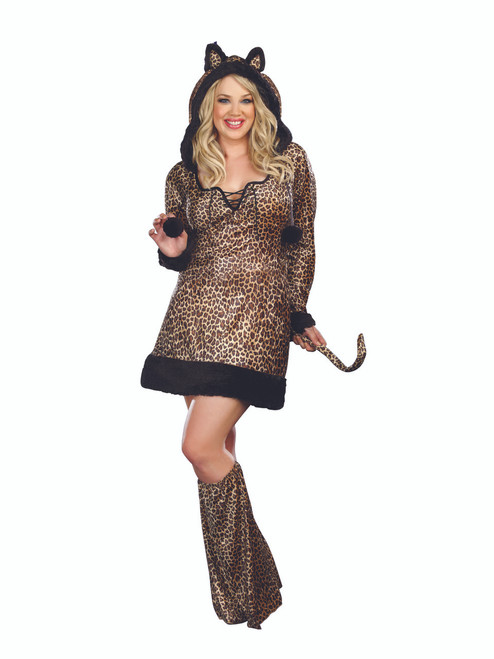Cheetah-luscious Hoodie Dress Costume - Plus Size - Plus Size