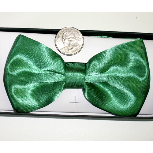 Lucky Green Satin Bow Tie