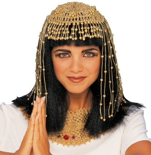 Gold Beaded Cleopatra Egyptian Headpiece