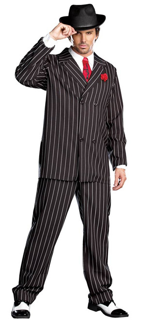 Men's Pinstripe Gangster Suit Costume