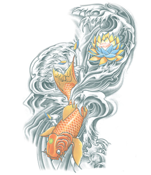 Koi and Lotus Flower Temporary Tattoo