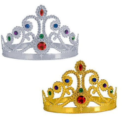 Plastic Jeweled Crown in Gold or Silver