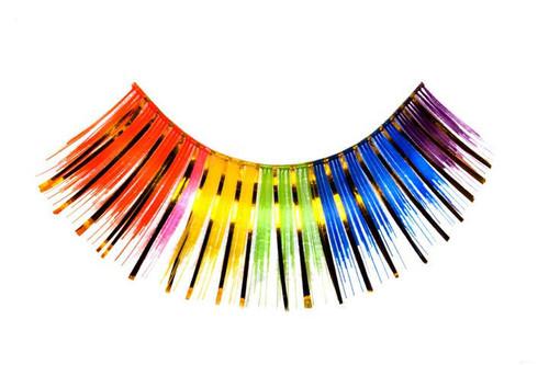 Rainbow coloured Eyelashes with Gold Tinsel