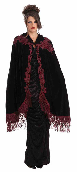 Burgundy Velvet Lace Cape