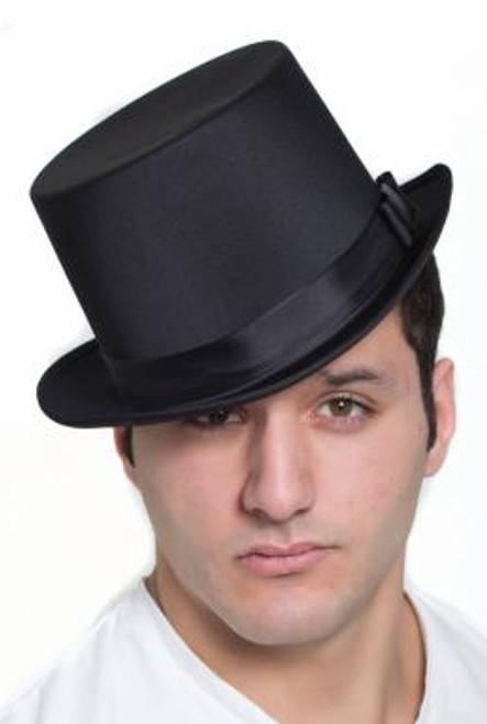 Solid Black Top Hat with Self Adjusting Sizer