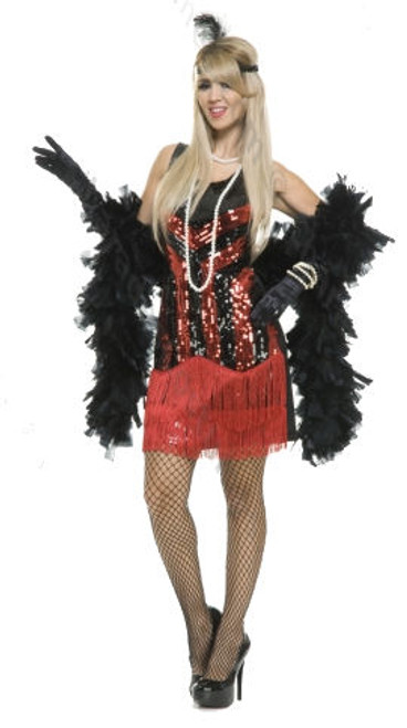 20s Red & Black Sequin Flapper Dress Costume