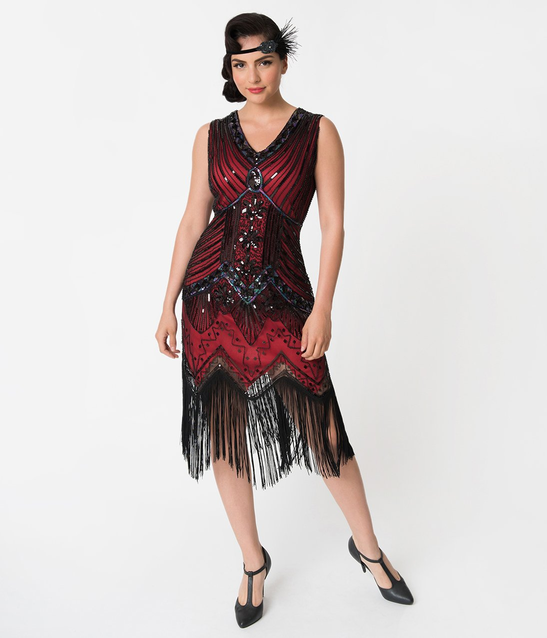 f95152c8f3 Adult Veronique Red Sequined Fringe Flapper Dress - The Costume Shoppe
