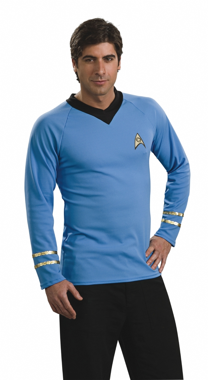 Star Trek The Original Series Spock Blue Shirt Cosplay TOS Costumes Uniform New
