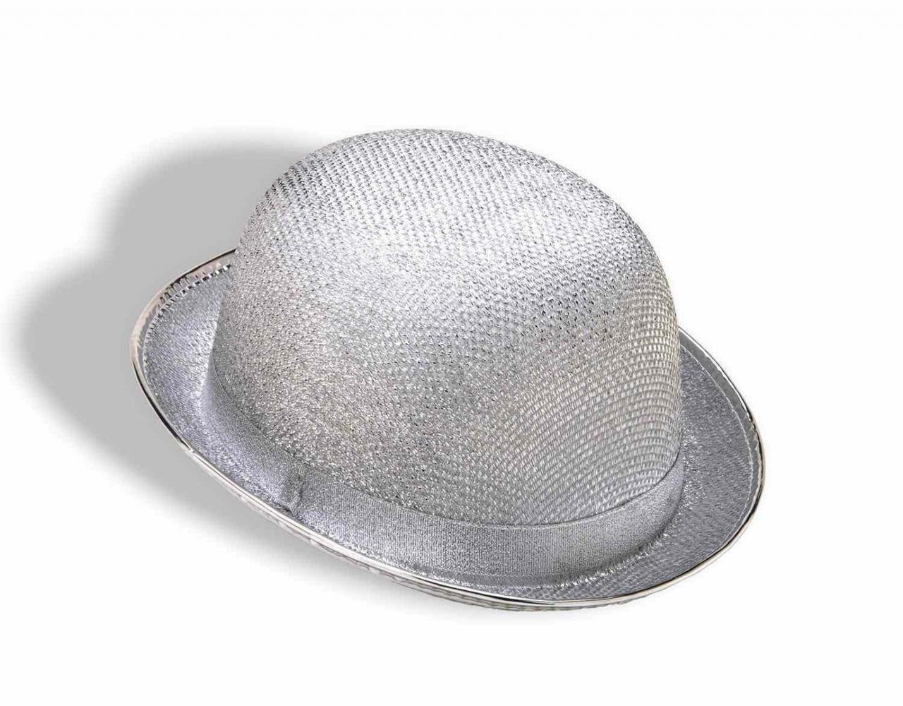 cf92fb2a0ffd9 Silver Glittery Bowler Hat - The Costume Shoppe