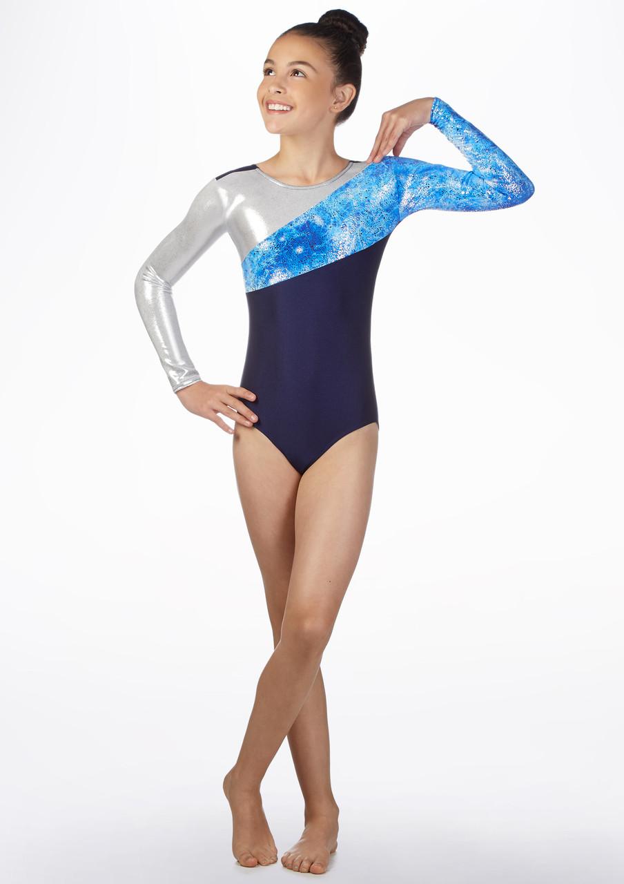 inlzdz Justaucorps de Gymnastique M/étallique Brillant Combinaison de Danse Classique Ballet sans Manche Unitard Moulant Body V/êtement de Sport Gym Yoga Jumpsuit Enfants 3-14 Ans
