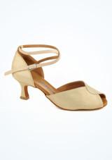 Chaussures danse de salon brillantes avec bout ouvert Diamant 5 cm or image principale. [Or]