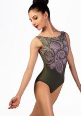 Justaucorps imprime paisley Ballet Rosa Vert avant. [Vert]