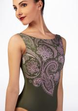 Justaucorps imprime paisley Ballet Rosa Vert avant #2. [Vert]
