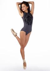 Justaucorps effet velour a fermeture eclair Ballet Rosa Gris avant #2. [Gris]