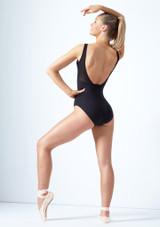Justaucorps en maille transparente col en V dans le dos Ana Move Dance Noir arriere. [Noir]