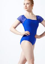 Justaucorps avec mancherons en maille transparente et fleurs brodees Ballet Rosa Bleue avant. [Bleue]