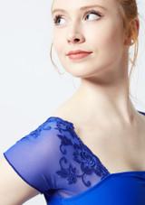Justaucorps avec mancherons en maille transparente et fleurs brodees Ballet Rosa Bleue avant #2. [Bleue]