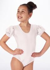 Justaucorps Brillant pour filles Alegra Rosalie Blanc avant. [Blanc]