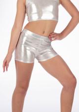 Short de danse metallique pour filles Alegra Argent arriere. [Argent]