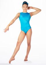 Justaucorps de gymnastique sans manches Swirl pour filles Alegra Bleue avant. [Bleue]
