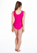 Justaucorps de gymnastique sans manches Swirl pour filles Alegra Rose arriere. [Rose]