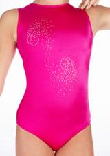 Justaucorps de gymnastique sans manches Swirl pour filles Alegra Rose avant #2. [Rose]