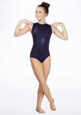 Justaucorps de gymnastique sans manches Swirl pour filles Alegra Bleue avant #3. [Bleue]